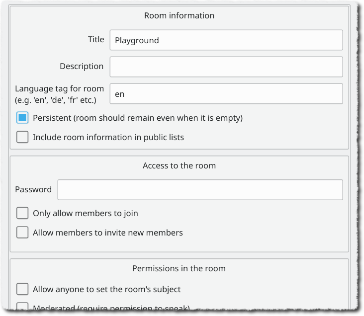 Room configuration dialog box